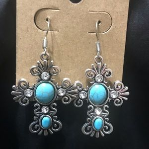Fashion Costume Jewelry Cross Earrings - Blue
